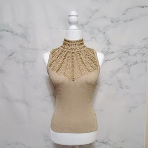 Cache Lurex Silk Blend Beaded Sweater Blouse